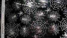 HALLOWEEN SILVER FOIL SPIDERS WEB ON BLACK 100% POLYESTER FABRIC  29X43 INCHES