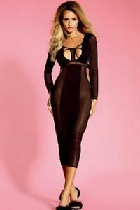 Hot Bodycon Dress Party Plunge Black Long Sleeve Stretch Midi Clubwear