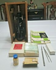 Vintage Edmund 300x Microscope in Wood Box w/ Extra Slides & Other Tools
