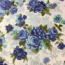 "Vintage Waverly Fabric Lansdale Toile Overlaid with Blue Roses 2.5 Yds 48"" W"