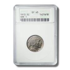 United States Buffalo Nickel 5c 1913 Anacs EF45 Variety 1