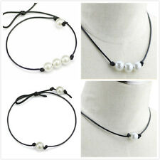 New Fashion Womens Black Leather Rope & White Pearl Pendant Choker Necklace Long