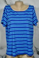 RAFAELLA Blue Violet Cyan Striped 100% Cotton Short Sleeve Top 2X Unlined