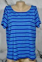 RAFAELLA Blue Violet Cyan Striped 100% Cotton Short Sleeve Top 2X Unlined