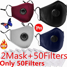 Washable & Reusable Cotton Fabric Face Mask PM 2.5 Respirator & 2Mask 50 Filters