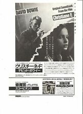DAVID BOWIE Christiane F Japanese magazine ADVERT/CLIPPING 10x7 inches
