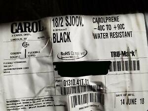 Carol 01310 18/2C Carolprene SJOOW 300V 90C Portable Power Cable Cord Black/50ft