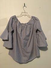 Kontrol Off Shoulder Stripe Navy Blue White Stylish Top Blouse Women Size L