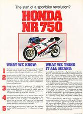 1987 Honda NR750  - Original Motorcycle Test Print Article J288