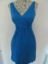 NEXT - BLUE UNLINED V-NECK SLEEVELESS WRAP OVER MINI DRESS SIZE 6- 100% COTTON