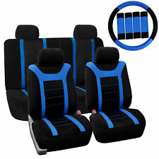 Car Seat Cover for Auto Full Set w/Steering Wheel Cover/Belt Pads/4heads Blue