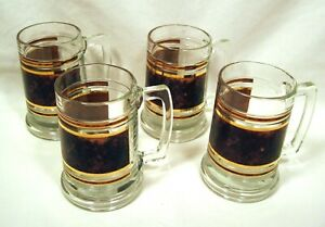 Classic Mid-Century Barware - 4 Sturdy MUGS - Brown Marble Pattern - Gold Trim