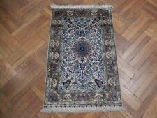 3' X 4' Silk Ivory - Brown Details High End Rug Oriental Hand-Knotted Rug
