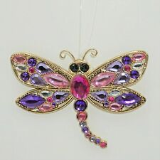 Ganz Crystal Expressions Radiant Dragon Fly Pink Purple Gold Suncatcher Ornament
