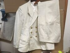 Soviet Navy Officer Double Breasted Suit Blazer/Matching Pants,Ivory,Size 46-4