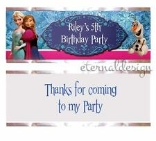 7 x Personalised High Gloss Kids Birthday Kit Kat Wrappers Frozen Design (25)