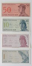 Set Of FOUR CRISP UNCIRCULATED 1964 Indonesia Banknotes (1, 5, 10 & 50 SEN)