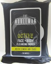 The Nobleman Active Face+Body Cleansing Wipes, Lemon And Sage, 30 Wipes