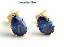 Girls Ladies 9ct Gold Small Teardrop Tanzanite Studs Earrings B'Day MUM'S GIFT N