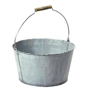Old Grey Round Galvanised Zinc Tapered Metal Bucket Plant Flower Planter Pot