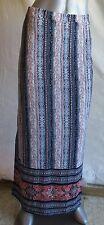 Womens No Comment Dark Blue & Cream Medallion Long Slit Skirt Size L NWT