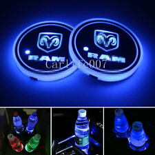 2PCS LED Car Cup Holder Pad Coaster Light 7 Colors USB Charging for DODGE RAM