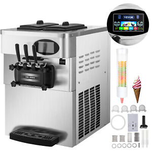 Softeismaschine Speiseeismaschine 3 Sorten Externer Kegelhalter Nachtkühlung LCD