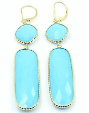Reconstituted Blue Turquoise Hanging Earrings,14K Yellow Gold Leverbacks