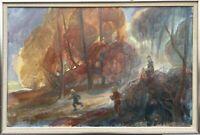 KINDER AM SEEUFER IM HERBST - EXPRESSIV - H. FALK 1978 - MODERN SCANDINAVIAN ART