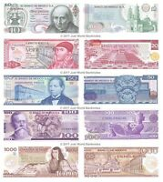 Mexico 10 + 20 + 50 + 100 + 1,000 Pesos Set of 5 Banknotes UNC