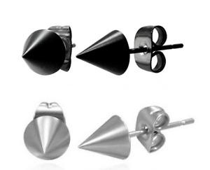 STAINLESS STEEL BLACK & SILVER SPIKE CONE STUD EARRINGS - 5mm - 1 PAIR OF EACH