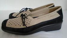 Hotter Eva Shoes Cream Black Leather Smart Laces Size 6.5 (40) Comfort Low Heel