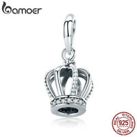 Bamoer HOT S925 Sterling Silver charm Elegant Crown With CZ For Bracelet Jewelry