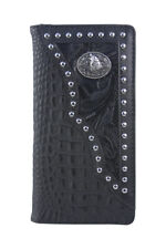 BLACK VEGAN ALLIGATOR LEATHER WOLF EMBLEM MENS RODEO BIFOLD WALLET WEST WOLF