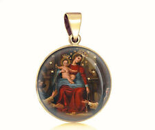 Our Lady of Pompeii 14K Gold Filled Medal Virgin Mary Catholic Round Pendant