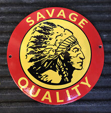 Savage Firearms Porcelain Steel Vintage Sign Gun Ammo Hunting Model 99