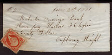 1871 US, 20$ Handwritten bank check with 2c revenue stamp, Sc R15c