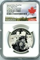 2019 $1 CANADA SILVER DOLLAR D-DAY NGC PF69 UCAM COLORIZED PROOF FIRST RELEASES