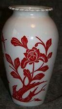 Vintage Anchor Hocking Royal Ruby Red Birds on Milk Glass White Hoover Vase Nice