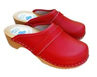 Womens Hand Made Red Clogs Sandals Ladies Wooden Sole Leather Slip On Size 6-10