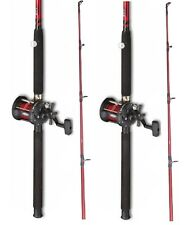 2 x  Fladen Red  Boat Fishing Rod + Multiplier Reel with Red  Line