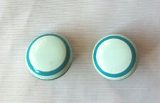 BOUCLES CLIPS  boutons  années 80 turquoise