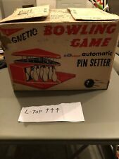 Vintage 1950's T. Cohn Superior toys tin litho magnetic bowling game w/box