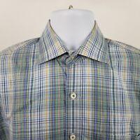 Peter Millar Mens Multi Color Plaid Check L/S Dress Button Shirt Sz Medium M