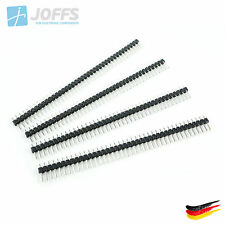 10 x 40 Pin Stiftleiste 11mm einreihig SCHWARZ (2.54mm Single Row Header Strip)