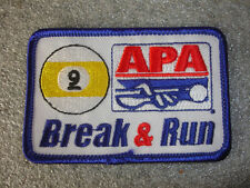 Collectible APA Leagues # 2 Ball Break And Run Sewing Patch Pool Table Stick