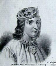 1840s Renato D'Angiò 17° decimostettimo RE di NAPOLI-stampa incisione.G.Riccio