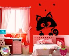Wall Stickers Vinyl Decal Cat With Butterflyes Pets Funny Cute (z1728)