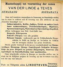 Van der Linde & teves semarang Orientale Inde commerce historique la publicité de 1899