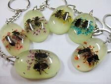 20pcs lots Natural Real Unisex Honeybee&Sun-flower Mixed design Keychains